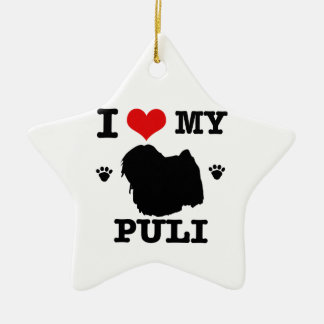 Love my Puli Ceramic Star Decoration