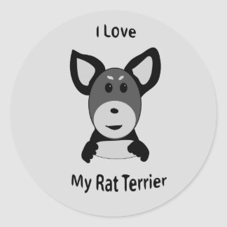 Love My Rat Terrier Sock Monkey Face Classic Round Sticker