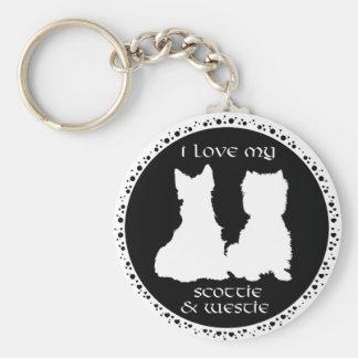 Love My Scottie & Westie Basic Round Button Key Ring