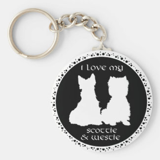 Love My Scottie & Westie Key Ring