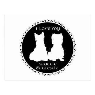 Love My Scottie & Westie Postcard