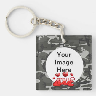 Love My Soldier With Picture Double-Sided Square Acrylic Key Ring