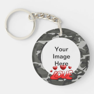 Love My Soldier With Picture Single-Sided Round Acrylic Key Ring