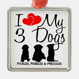 Love My THREE Dogs Christmas Ornament