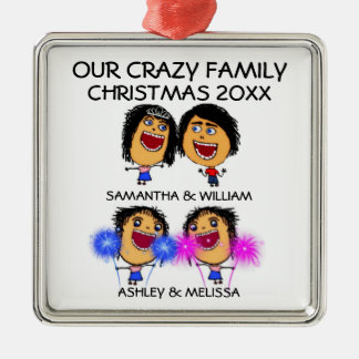 Love My Two Daughters Cartoon Christmas Ornament