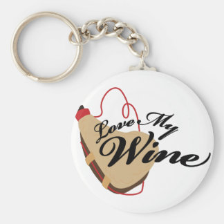 Love My Wine Basic Round Button Key Ring