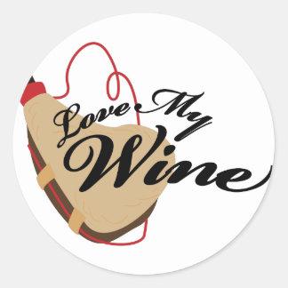 Love My Wine Round Sticker