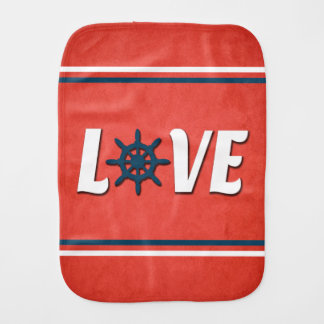 Love nautical design burp cloth