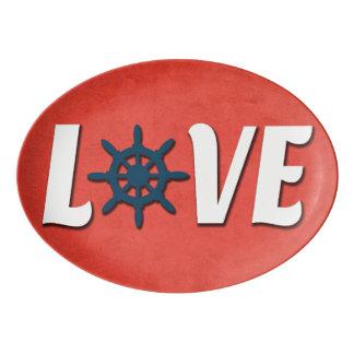 Love nautical design porcelain serving platter