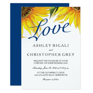 Love Navy Blue & Sunflower Wedding Invite