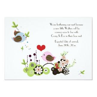 "Love Nest Pregnancy Announcement 5"" X 7"" Invitation Card"