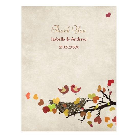Love Nest Wedding Thank You Postcard