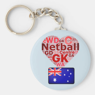 Love Netball Australia Flag and Heart Design Basic Round Button Key Ring