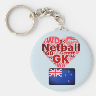 Love Netball New Zealand Flag and Heart Design Basic Round Button Key Ring