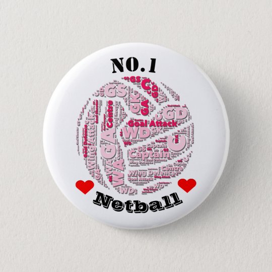 Love Netball Player Positions Pin Badge