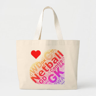 Love Netball Positions Heart Design Large Tote Bag