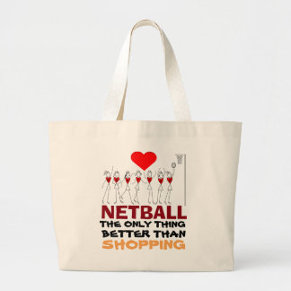 Love Netball Quote and Player Positions Design Large Tote Bag