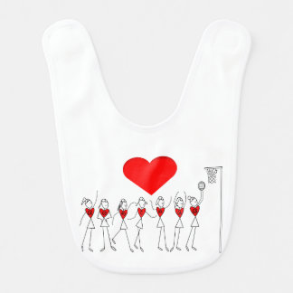 Love Netball Stick Figures and Heart Design Bib