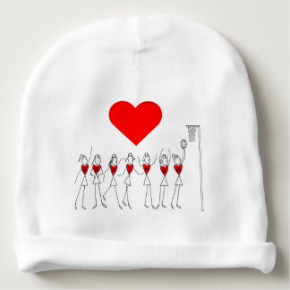 Love Netball Stick Figures Heart Design Baby Beanie