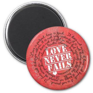 Love Never Fails Bible Verse 1 Corinthians 13:4-8 6 Cm Round Magnet