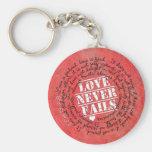 Love Never Fails Bible Verse 1 Corinthians 13:4-8 Basic Round Button Key Ring