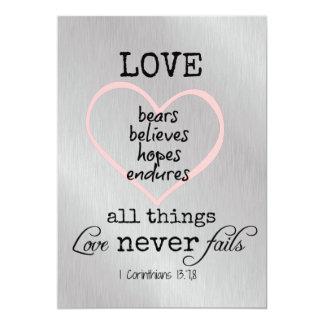 Love Never Fails Bible Verse Wedding 13 Cm X 18 Cm Invitation Card