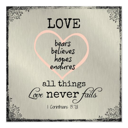 1 Corinthians 13 Wedding Invitations: Love Never Fails Bible Verse Wedding Card