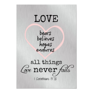Love Never Fails Bible Verse Wedding Card