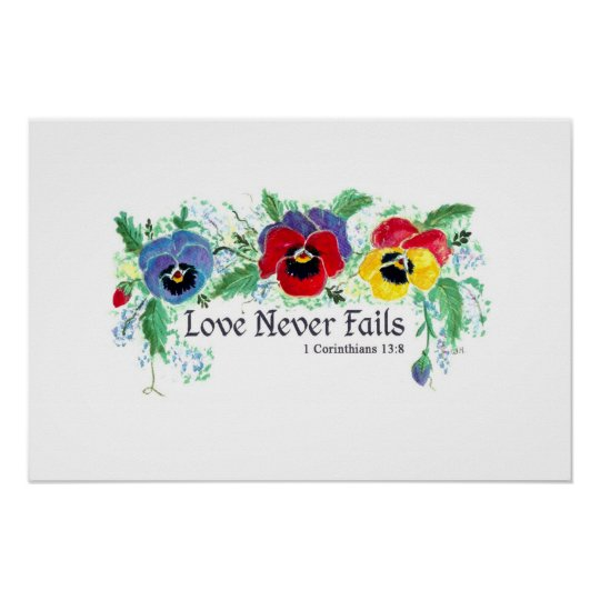 Love Never Fails (blue, red, and yellow pansies)
