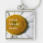 Love Never Fails Daisy 1 Corinthians 13 Key Chain