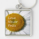 Love Never Fails Daisy 1 Corinthians 13 Silver-Colored Square Key Ring