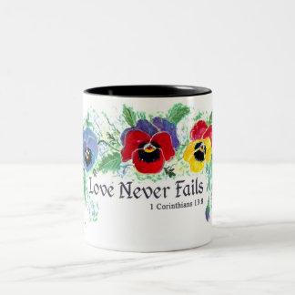 Love Never Fails (pansies) Two-Tone Coffee Mug