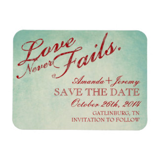 Love Never Fails Rustic Save The Date Rectangular Photo Magnet