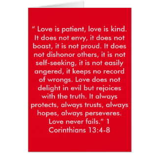 """Love Never Fails"" Scripture Greeting Card"