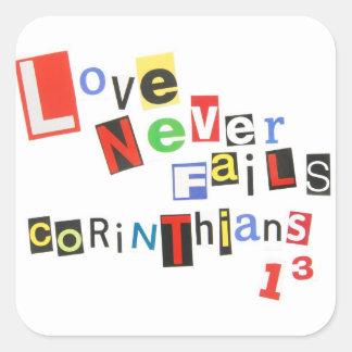 Love Never Fails Square Sticker