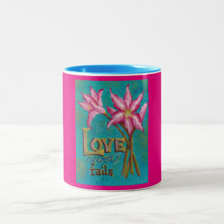 Love Never Fails Two-Tone Coffee Mug