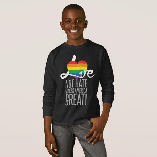 Love Not Hate (Rainbow) Boy's Dark Long Sleeve