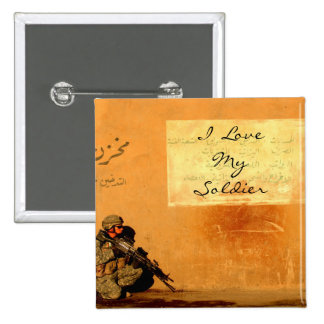 Love Note on the Wall Military Soldier 15 Cm Square Badge