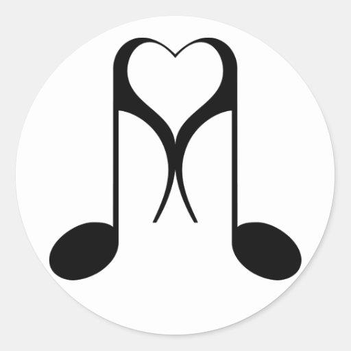 love notes : 8th note : round sticker