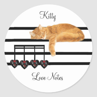 Love notes from the cat round sticker