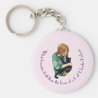 """Love of a Cat"" Key Ring Basic Round Button Key Ring"