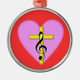 Love of Christian Music Silver-Colored Round Decoration