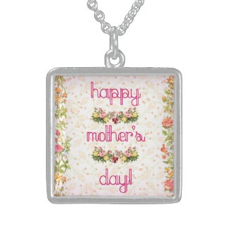 Love of Pink Mother's Day Silver Square Necklace