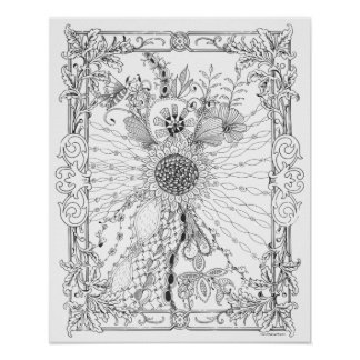 Love of Sunflowers Art Nouveau - Adult Coloring Poster