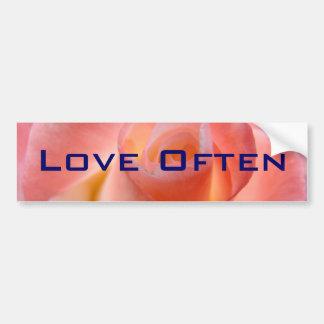 LOVE OFTEN bumper stickers Pink Rose Flower