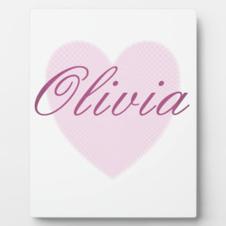 Love Olivia - pink sweetheart heart Plaque