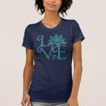 Love-Om-Namaste Racerback Teal & Dark Blue T-shirts
