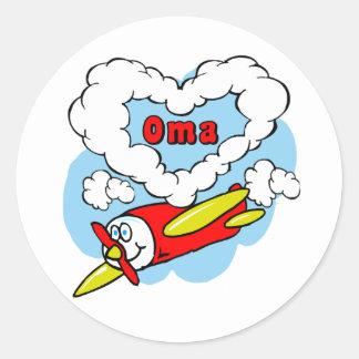 Love Oma Kids Airplane Round Sticker