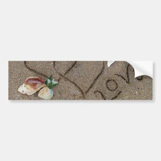 Love on beach w hearts bumper stickers
