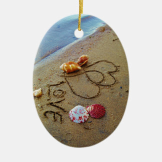 Love on beach w/  hearts christmas ornament